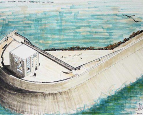 Diseño de Casa Cubo. Espigón del puerto de Valencia. Luis De Garrido con 17 años de edad