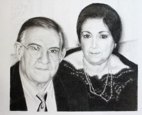 Retrato Antonio y Victoria 2. Dibujo con lápiz de grafito. Luis De Garrido. 2016