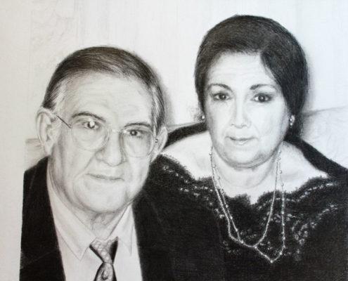 Retrato Antonio y Victoria. Dibujo con lápiz de grafito. Luis De Garrido 2016