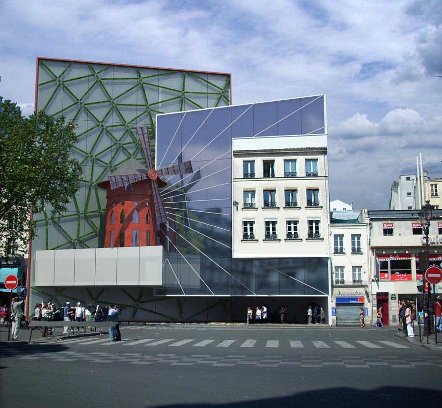 Vert Moulin Rouge. Fachada Multimedia 5. Proyecto de Luis De Garrido. París, Francia. 2011