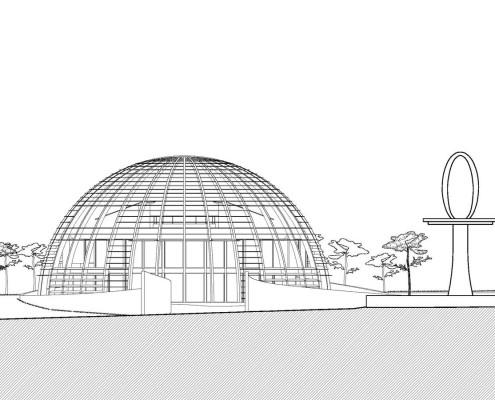 Eye of Horus Eco-House. Alzado norte