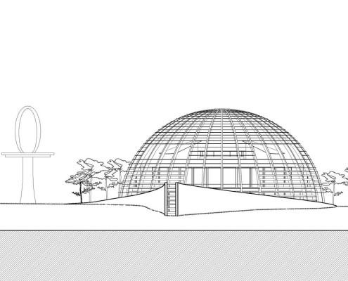 Eye of Horus Eco-House. Alzado sur