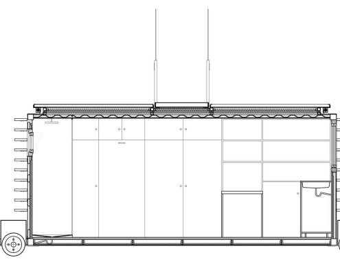 Anonymous-II Eco-House. Sección Longitudinal