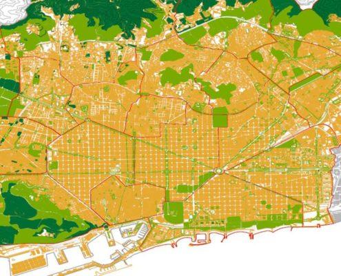 2. Subdivisión en ciudades autosuficientes. Barcelona 2200