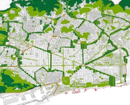 3. Anillos de zonas verdes. Barcelona 2200