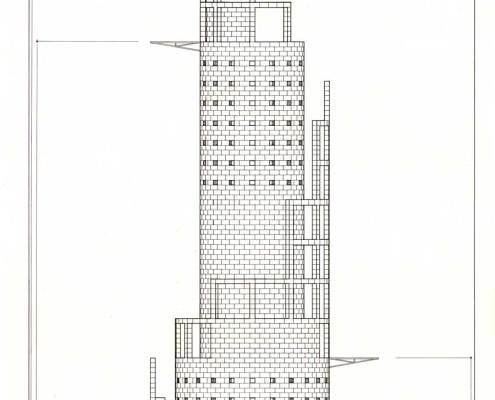 Telemática 2025 Eco-Tower 2. Alzado. Barcelona. Spain. 1986. Luis De Garrido